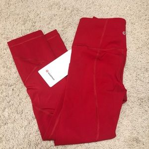 """Lululemon Pace Rival High Rise 22"""" Dark Red"""